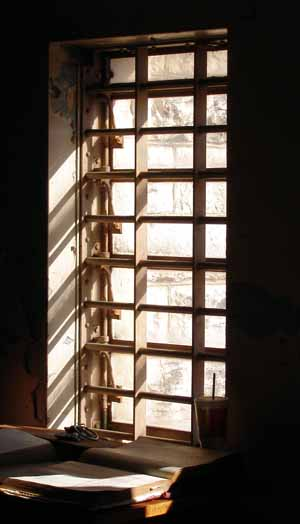 window - note lattice for ventilation (the jail had no air Conditioning)